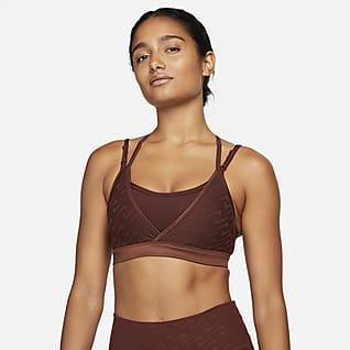 Nike Dri-FIT Indy Icon Clash สปอร์ตบราผู้หญิงซัพพอร์ตระดับต่ำแบบสายเส้นเล็กเสริมฟองน้ำ