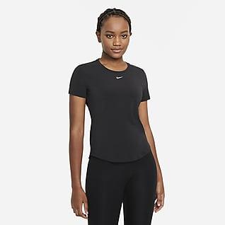 Nike Dri-FIT One Luxe Damestop met standaardpasvorm en korte mouwen