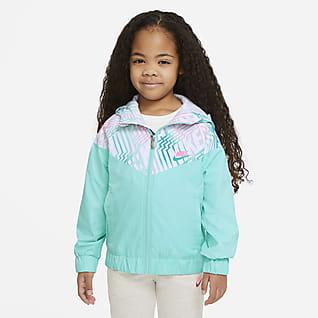 Nike Sportswear Windrunner Chamarra estampada con cierre completo para niños talla pequeña