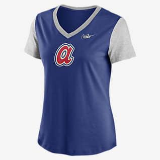 Nike Cooperstown Logo Tri-Blend (MLB Atlanta Braves) Women's Mid V-Neck T-Shirt