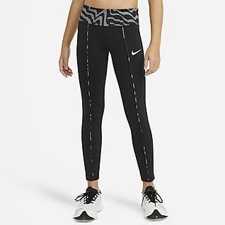Nike One Leggings med hög midja och tryck för ungdom (tjejer)