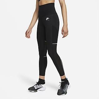 Nike Air Dri-FIT Γυναικείο κολάν 7/8 για τρέξιμο με ζώνη που διπλώνει στη μέση
