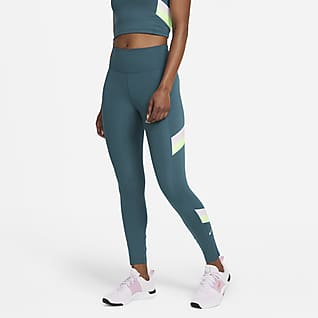 Nike One Leggings a 7/8 de cintura normal às riscas em blocos de cor para mulher