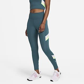 Nike One Mellomhøy leggings med fargeblokkstriper i 7/8 lengde til dame