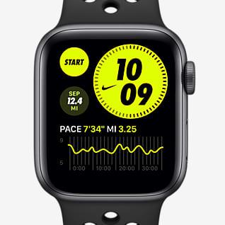 Apple Watch Nike SE (GPS + celular) con correa deportiva Nike Estuche de aluminio gris espacial de 44 mm