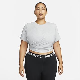 Nike Dri-FIT One Luxe Top cruzado de manga corta y ajuste estándar para mujer (talla grande)