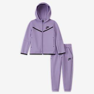 Nike Sportswear Tech Fleece Conjunto de sudadera con capucha de cierre completo y pantalones para niños pequeños