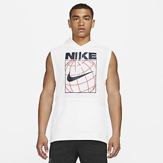 Nike Dri-FIT Pánská tréninková mikina s kapucí bez rukávů a sgrafickým motivem