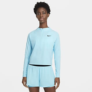 NikeCourt Dri-FIT Victory Langarm-Tennisoberteil für Damen mit Halbreißverschluss