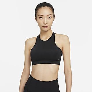Nike Yoga Dri-FIT Swoosh 女款中度支撐型一片式襯墊高領運動內衣