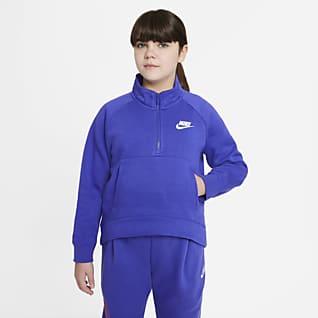 Nike Sportswear Club Fleece Big Kids' (Girls') 1/2-Zip Pullover (Extended Size)