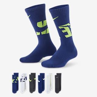 Nike Everyday Calcetines largos con amortiguación para niños (6 pares)