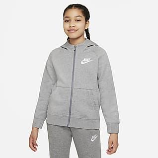 Nike Sportswear Sudadera con gorro de cierre completo para niña talla grande