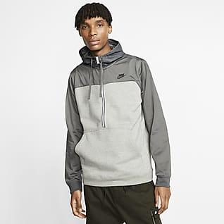 Nike Sportswear Hoodie de lã cardada com fecho até meio para homem