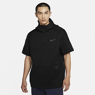 Nike Pro Felpa a manica corta con cappuccio e zip a 1/4 - Uomo