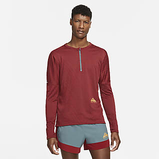 Nike Dri-FIT Мужская футболка для трейлраннинга с молнией на половину длины