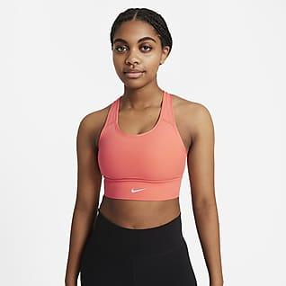 Nike Dri-FIT Swoosh Damski stanik sportowy z jednoczęściową wkładką o wydłużonym kroju zapewniający średnie wsparcie