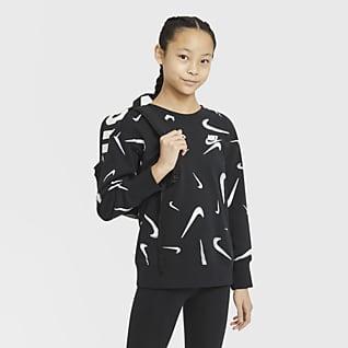 Nike Sportswear Tröja med rund hals i frotté med tryck för ungdom (tjejer)