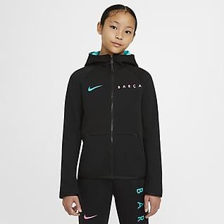 FC Barcelona Tech Fleece Hosszú cipzáras, kapucnis pulóver nagyobb gyerekeknek