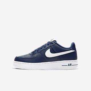 blå och vita Nike Air Force mitt
