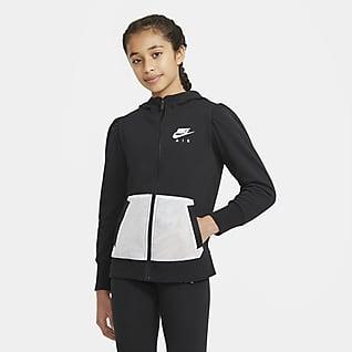Nike Air Hættetrøje i french terry med lynlås i fuld længde til større børn (piger)
