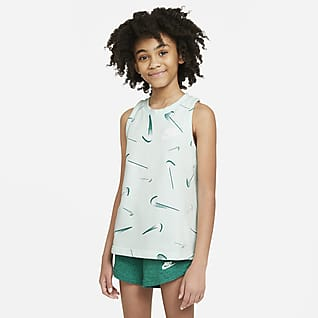 Nike Sportswear Camiseta de tirantes con estampado de French Terry para niña talla grande