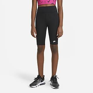 "Nike Sportswear 大童 (女童) 高腰 9"" 自行車短褲"
