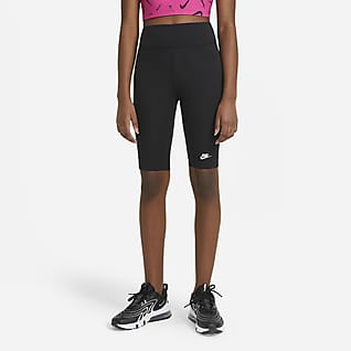 Nike Sportswear Bikeshorts met hoge taille voor meisjes (23 cm)