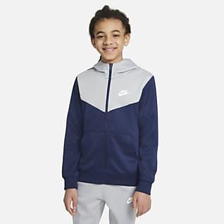 Nike Sportswear Hettejakke med hel glidelås til store barn (gutt)