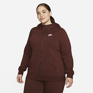 Nike Sportswear Essential (stora storlekar) Huvtröja med hellång dragkedja för kvinnor