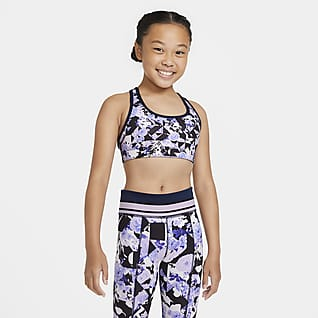 Nike Swoosh Big Kids' (Girls') Printed Reversible Sports Bra