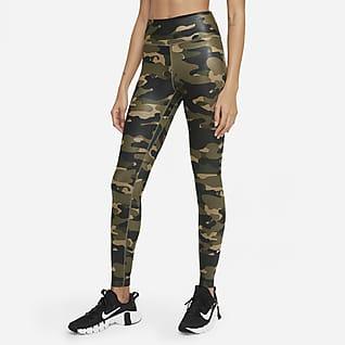 Nike Dri-FIT One Leggings med mellanhög midja och kamouflagemönster för kvinnor
