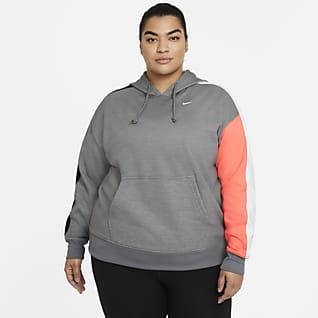 Nike Therma Γυναικεία μπλούζα προπόνησης με κουκούλα και χρωματικές αντιθέσεις (μεγάλα μεγέθη)
