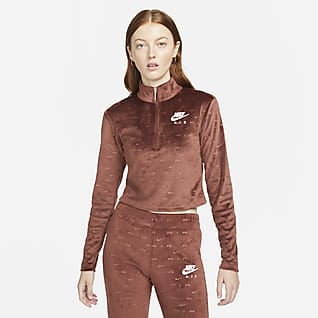 Nike Air เสื้อแขนยาวซิปสั้นกำมะหยี่ผู้หญิง