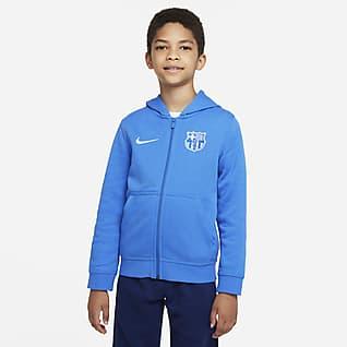 FC Barcelona Sweat à capuche et zip en tissu Fleece pour Enfant plus âgé