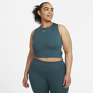 Nike Camiseta de tirantes de entrenamiento corta a rayas con bloques de color para mujer talla grande
