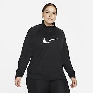 Nike Dri-FIT Swoosh Run Mellanlager för löpning med dragkedja i kvartslängd för kvinnor (Plus Size)