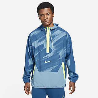 Nike Dri-FIT Sport Clash Pánská tkaná tréninková mikina skapucí azipem do poloviny