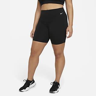 Nike One Bikeshorts met halfhoge taille voor dames (Plus Size, 18 cm)