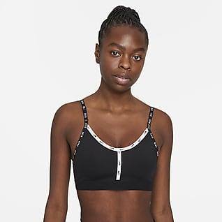 Nike Dri-FIT Indy Logo Tape-sports-bh med indlæg og let støtte til kvinder