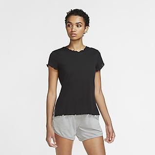 Nike Yoga Kurzarm-Oberteil für Damen