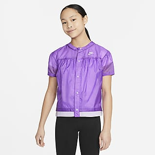 Nike Air Older Kids' (Girls') Woven Short-Sleeve Top