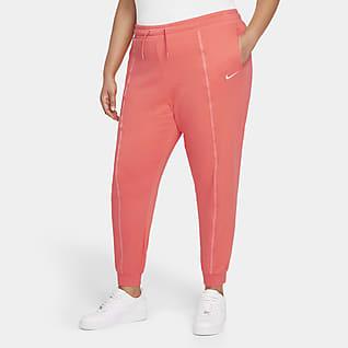 Nike Sportswear Icon Clash Pantalones de entrenamiento de tiro medio y tejido Fleece para mujer (talla grande)