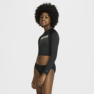 Nike JDI Big Kids' (Girls') Long-Sleeve Cropped Hydroguard Swim Shirt