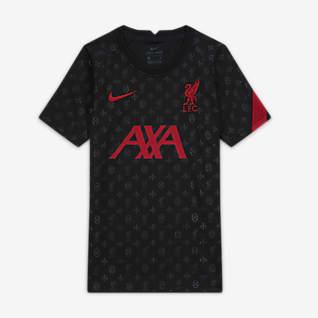 Liverpool FC Camiseta de fútbol de manga corta para antes del partido para niños talla grande