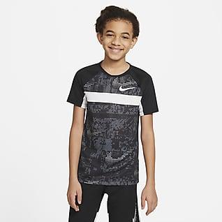 Nike Dominate เสื้อเทรนนิ่งแขนสั้นเด็กโตพิมพ์ลาย (ชาย)