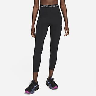 Nike Pro Dri-FIT Damskie błyszczące legginsy 7/8 z wysokim stanem