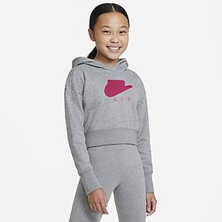 Nike Air Μπλούζα crop με κουκούλα από ύφασμα French Terry για μεγάλα κορίτσια
