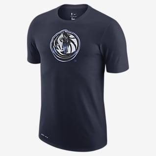 Dallas Mavericks Earned Edition Nike Dri-FIT NBA-T-skjorte med logo til herre