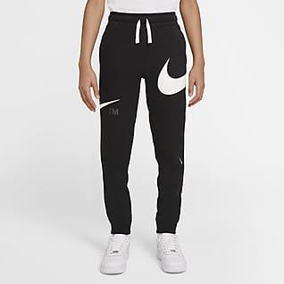 Nike Sportswear Swoosh Fleecebukser til større børn (drenge)